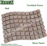 Red porphyry back mesh stone wavy paver