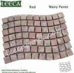 Red rose wavy paver porphyry cobbles