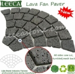 Fan-shaped lava stone paver