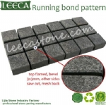 Flamed surface chamfer edges stone cobbles