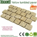 Yellow tumbled paver interlock landscape stone Qatar