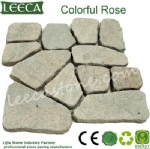 Colorful rose irregular stone paver patio