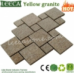Yellow gabbro stone irregular pattern cobbles United Arab Emirates