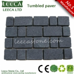 Black basalt tumbled matted paving stone