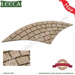 Yellow stone paver granite fan shaped paving stone