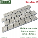Light grey granite stone interlock paving