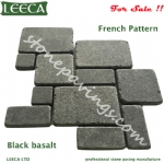 Black basalt paving stones french pattern