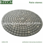 Dark grey granite mesh paving stone circle