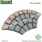 Fan cobble stone on mesh granite cube stone