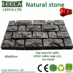 Green porphyry running bond pattern paving stone -14th Xiamen Stone Fair -H10